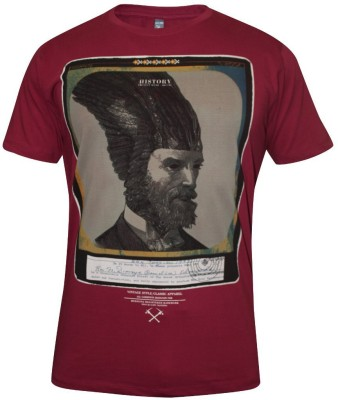 Hefty Graphic Print Men's Round Neck Maroon T-Shirt