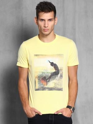 WROGN Graphic Print Men's Round Neck Yellow T-Shirt