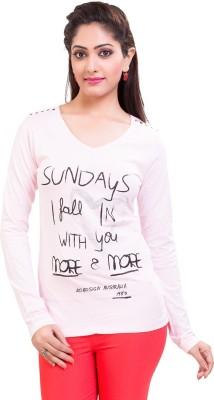 TVENO Printed Women's V-neck Pink T-Shirt