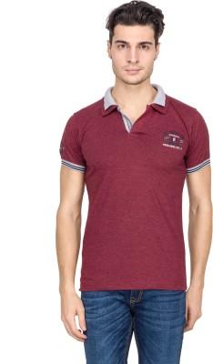 V9 Solid Men's Polo Neck Maroon T-Shirt