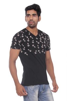Pezzava Self Design Men's Flap Collar Neck Reversible Green, Grey T-Shirt