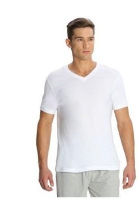 Bright deals Solid Men's V-neck White T-Shirt