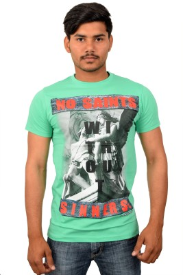 YOUTH & STYLE Graphic Print Men's Round Neck Green T-Shirt