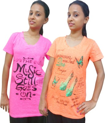 Instyle Graphic Print Women's V-neck Pink, Orange T-Shirt