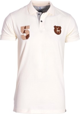 IND Classic Solid Men's Polo Neck Beige T-Shirt