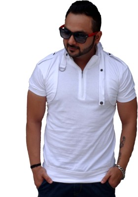 Black Collection Solid Men's Flap Collar Neck White T-Shirt