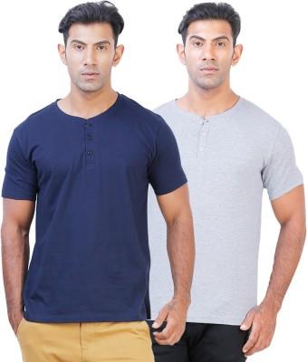 Click Hit Solid Men's Henley Blue, Grey T-Shirt