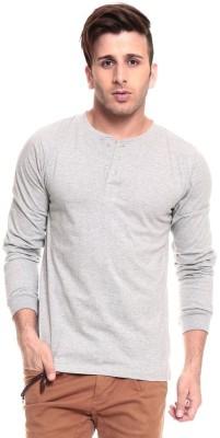 Ansh Fashion Wear Solid Men's Henley Grey T-Shirt
