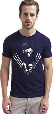 Carte Blanche Printed Men's Round Neck Dark Blue T-Shirt