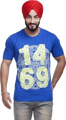 Nihaal Printed Men,s Round Neck Blue T-Shirt