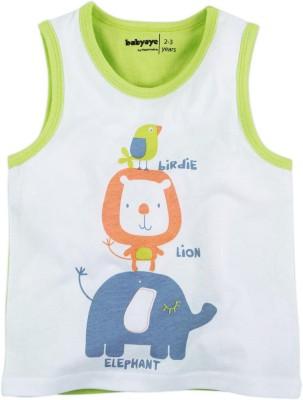 Babyoye Printed Boy's Round Neck Light Green T-Shirt