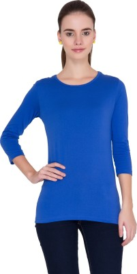 Alibi Solid Women's Round Neck Blue T-Shirt