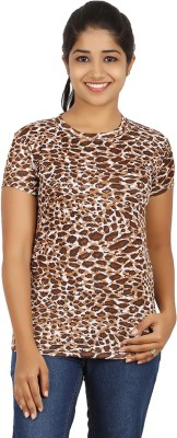 Humtees Casual Short Sleeve Printed Women's Brown Top
