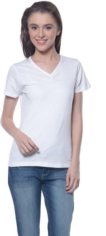 Meira Embroidered Women's V-neck White T-Shirt