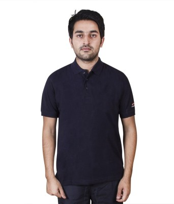 FastFox Solid Men's Polo Neck Blue T-Shirt