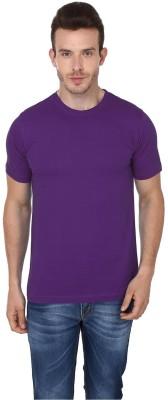Lowcha Solid Men's Round Neck Purple T-Shirt