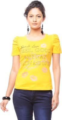 Trendy Girlz Graphic Print Women's Round Neck Yellow T-Shirt