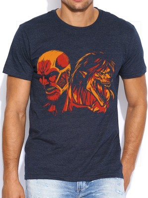 ComicSense Graphic Print Men's Round Neck Dark Blue T-Shirt