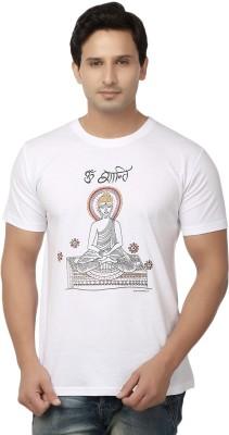 Hattha Embroidered Men's Round Neck White T-Shirt