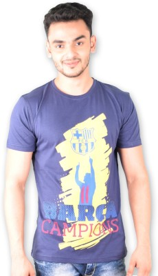 FC Barcelona Printed Men's Round Neck Blue T-Shirt