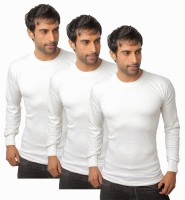 Nitlon Solid Men's Round Neck White T-Shirt(Pack of 3)