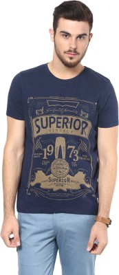 Henry and Smith Printed Men's Round Neck Dark Blue T-Shirt