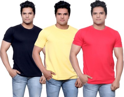 IndiStar Solid Men's Fashion Neck Black, Yellow, Red T-Shirt