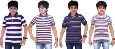 Dongli Striped Baby Boy's Polo Neck Purple, Blue, Dark Blue, Grey T-Shirt