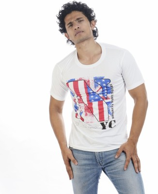 Adventure Printed Men's Round Neck White T-Shirt