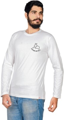 Indian Royal Solid, Embroidered Men's Round Neck White T-Shirt
