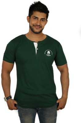 Magnoguy Solid Men's Henley Green, White T-Shirt
