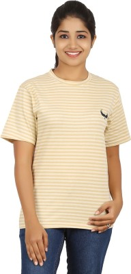 Humtees Casual Short Sleeve Striped Women's Yellow Top