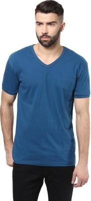 Unisopent Designs Solid Men's V-neck Dark Blue T-Shirt