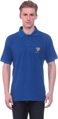 Ted Smith Solid Men's Polo Neck Blue T-Shirt