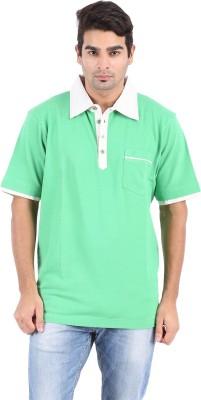 Furore Solid Men's Polo Neck Green T-Shirt