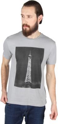 Threads & Pals Printed Men's Round Neck Grey T-Shirt