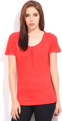 Cherokee Solid Women's Fashion Neck Red T-Shirt