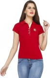 Run of luck Solid Women's Polo Neck Red ...