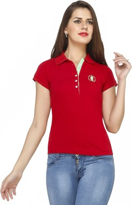 Run of luck Solid Women's Polo Red T-Shirt