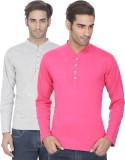 eSOUL Solid Men's Henley Grey, Pink T-Sh...