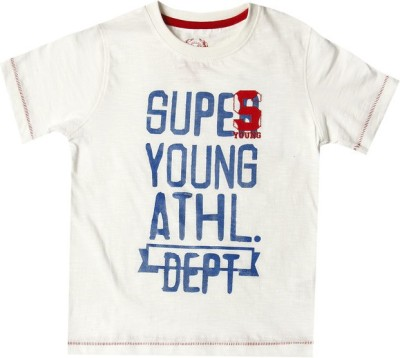 SuperYoung Printed Boy's Round Neck White T-Shirt