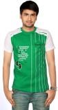 Aaduki Striped Men's Round Neck Green T-...