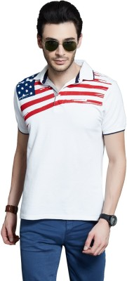 Route 66 Solid Men's Polo Neck White T-Shirt