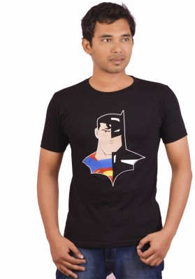 Indrow Printed Men's Round Neck Black T-Shirt