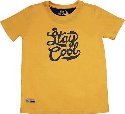 Blue Giraffe Printed Boy's Round Neck Yellow T-Shirt
