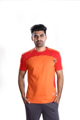 Mrtees Solid Men's Round Neck Orange T-Shirt