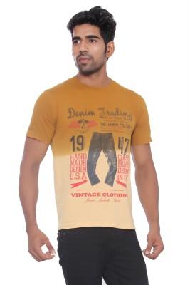 Pezzava Self Design Men's Round Neck Reversible Brown, Orange T-Shirt