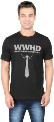 Redwolf Graphic Print Men's Round Neck Black T-Shirt