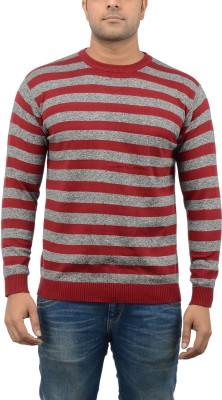Blue Heaven Striped Men's Round Neck Maroon, Grey T-Shirt