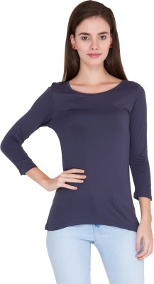 Alibi Solid Women's Round Neck Dark Blue T-Shirt
